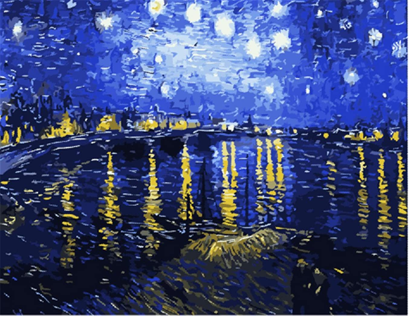 YEESAM Art New DIY Paint by Number Kits for Adults Kids Beginner - Worldwide Famous Oil Painting by Van Gogh 16x20 inch Linen Canvas - Stress Less Number Painting Gifts (with Frame)