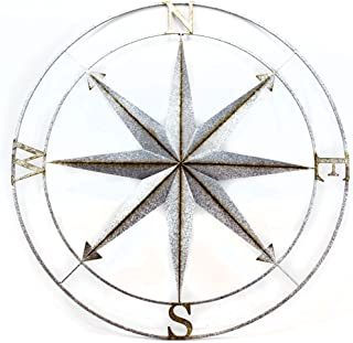 Zeckos Distressed Galvanized Zinc Finish Compass Rose Metal Wall Hanging 39 Inch