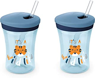NUK Evolution Straw Cup, 8 oz, 2-Pack, Blue