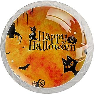 Boutons De Tiroir Verre Cristal Rond Poignées d'armoires tirer 4 pièces,joyeux chat d'halloween
