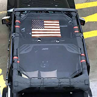 Drizzle Front Eclipse Sunshade Mesh Shade Bikini Top Cover with USA Flag Provides UV Sun Protection for Jeep Wrangler 4 Door JK or JKU 2007-2018 Soft Top (Flag, 4 Door)