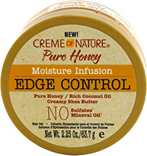Creme Of Nature Pure Honey Edge Control Gel 2.25 Ounce Jar (66ml) (2 Pack)