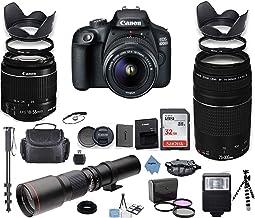 Canon EOS 4000D Cámara DSLR con 0.709-2.165in es II paquete + Canon EF 2.953-11.811in f/4-5.6 III lente preestablecida de 19.685in + memoria de 32 GB + filtros + monopie + paquete profesional + paño digital inspirador.