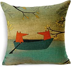 Leaveland Red Fox Thick Cotton Linen Throw Pillow Cover 16x16 inch