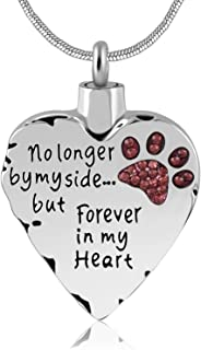 No Longer by My Side But Forever in My Heart Memorial Cremation Necklace for Mom,Dad,Pet Ashes Urn Pendant