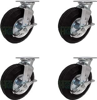 "8"" x 2-3/4"" Swivel Plate Caster with Brakes - Flat Free - No Flat Pneumatic Wheel, 1,000 lb Capacity Set of 4 - CasterHQ Brand"