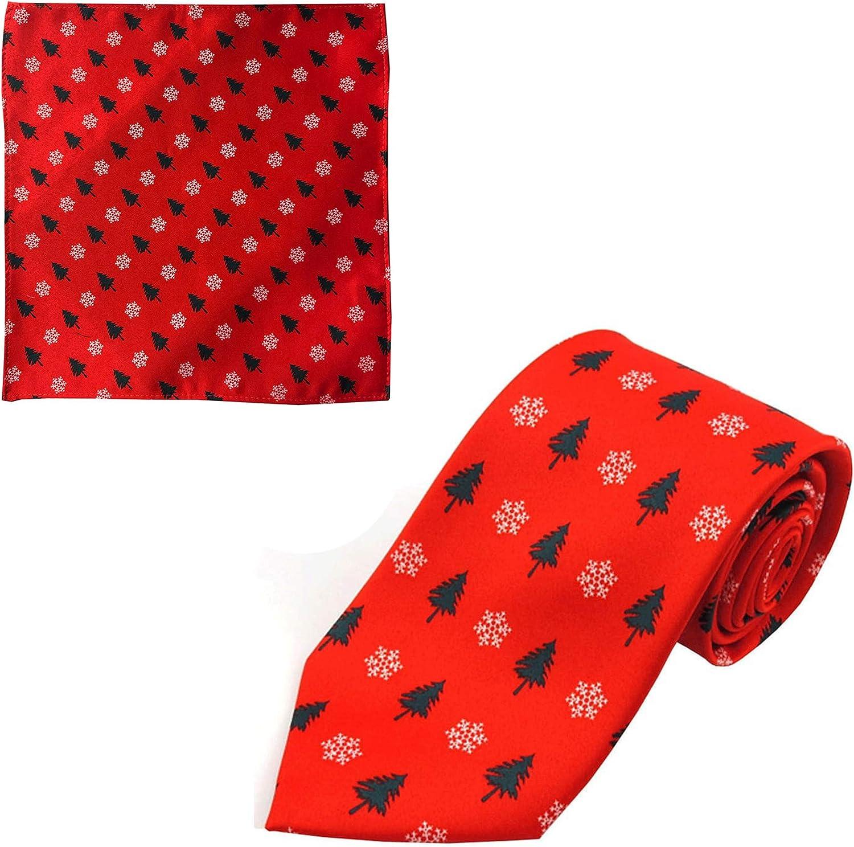 Jacob Alexander Men's Red Orange Christmas Trees Snowflakes Motif Regular Neck Tie and Pocket Square Set