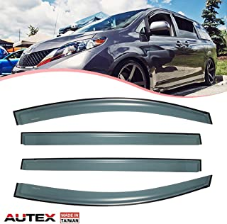 AUTEX 4Pcs Tape On Window Deflector Guard Compatible with Toyota Sienna 2011 2012 2013 2014 2015 2016 2017 Tape On Window Visor