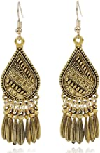 LGXH Retro Ethnic Drops Tassel Big Earrings India Mexican African Tribal Boho Dangle Earrings For Women