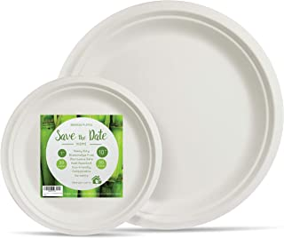 """[100 Pcs] 10""""/7"""" Round Disposable Party Plates Set Appetizer Compostable Biodegradable Bagasse Sugarcane Heavy Duty Alternative To Paper Bamboo Wood or Plastic Eco Friendly for BBQ Wedding Event Home"""