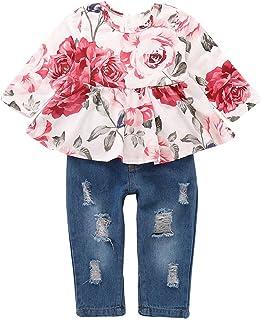 Haokaini Bébé Fille Vêtements D' été Chemise à Fleurs à Manches Courtes Pantalon Déchiré Pantalon Tenue pour Les Filles en...