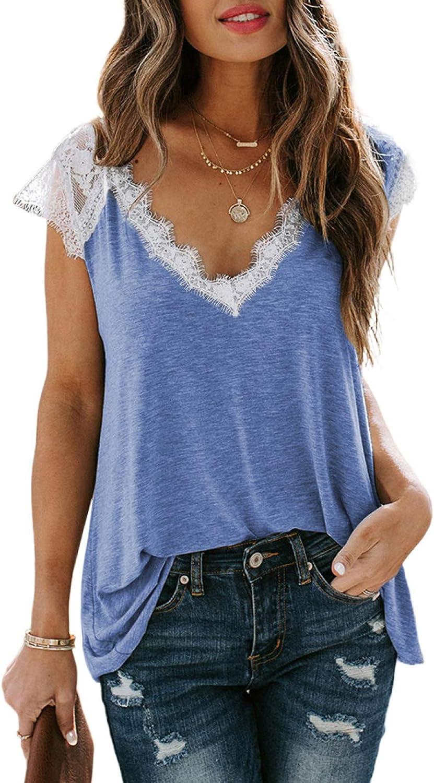 ROSKIKI Women's Summer Loose Splice Lace Crochet Trim V-Neck Cap Sleeves Tank Shirts Blouse Tops