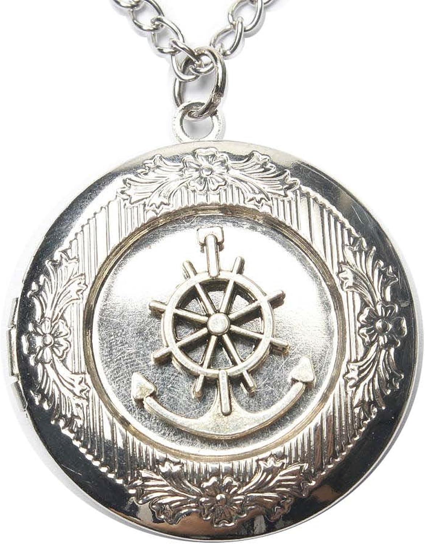 Anchor Locket Necklace, Nautical Jewelry, sea Locket, Beach Jewelry, Anchor Pendant, Rudder