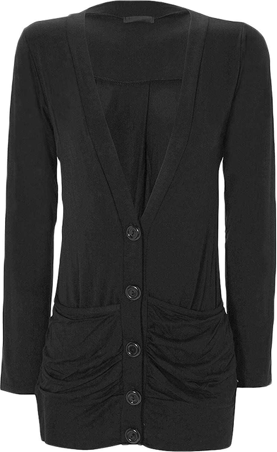 Women's Stretch Long Sleeve Button up Ladies Pocket Cardigan Top