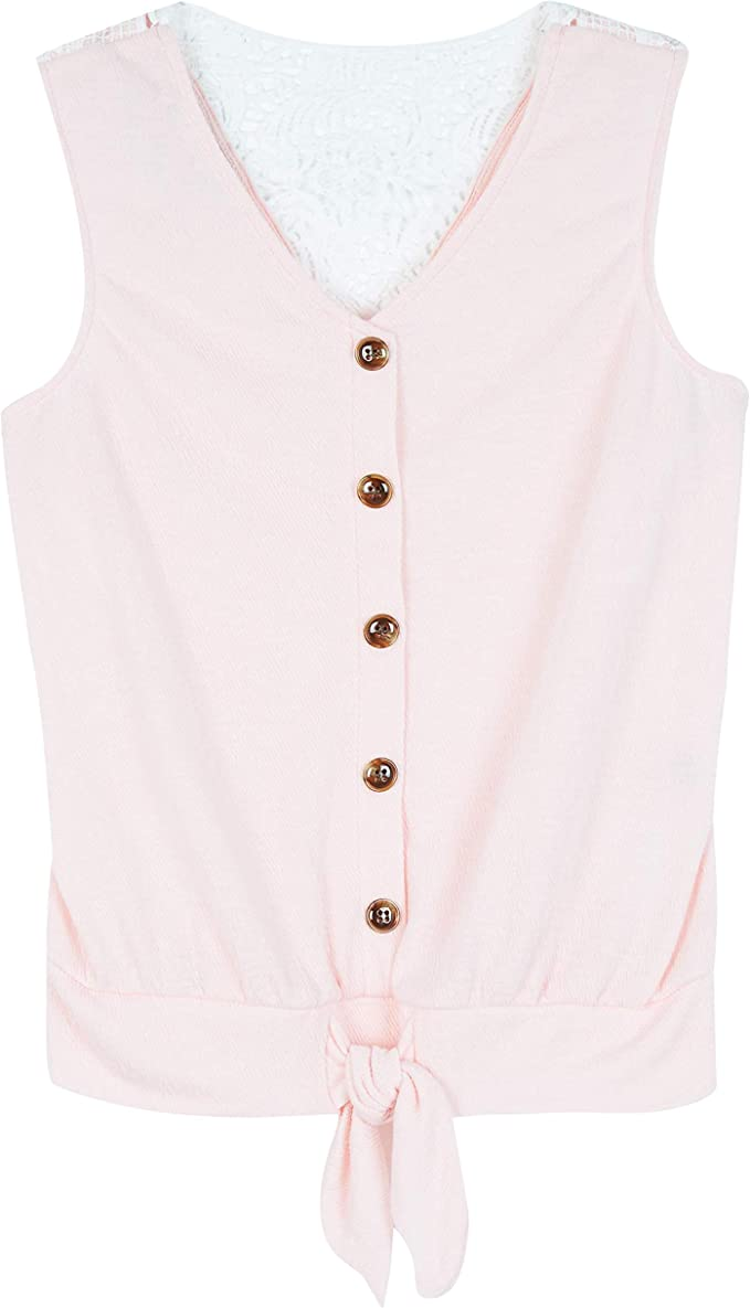 Amy Byer Girls Tie Front Tank Top