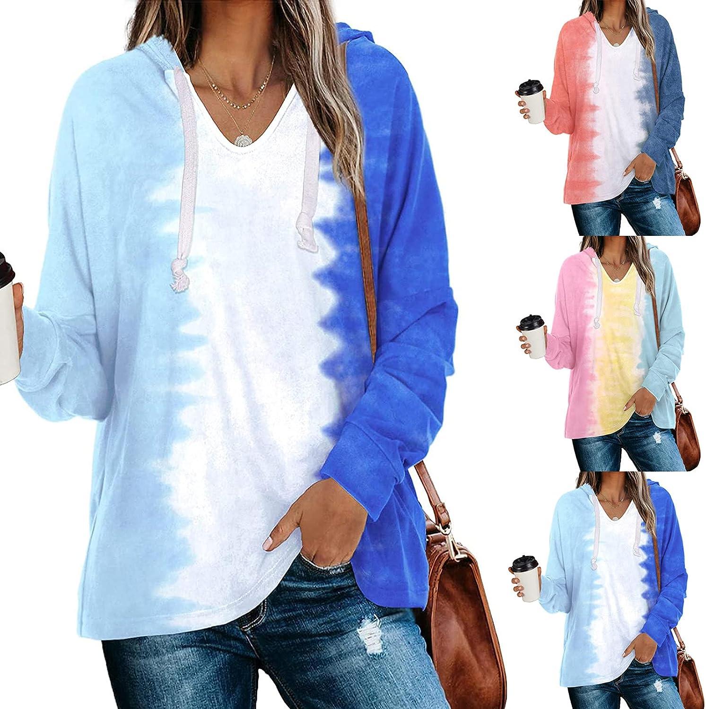 TAYBAGH Hoodies for Women,Womens Fashion Tie Dye Printed Hoodie Casual Loose Pullover Sweatshirt Long Sleeve Blouse Tops
