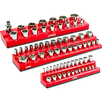ARES 60035-3-Piece Set SAE Magnetic Socket Organizers - Red -Includes 1/4 in, 3/8 in, 1/2 in Socket Holders - 75 Pieces of Standard (Shallow) and Deep Sockets - Perfect for Tool Box