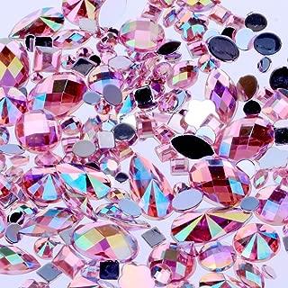 Mix Sizes 300pcs Crystal Pink AB Nail Art Rhinestones DIY Non Hotfix Flatback Acrylic Nail Stones Gems for 3D Nails Art Decorations (Pink AB)
