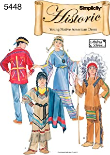 Simplicity Andrea Schewe Pattern 5448 Boys and Girls Historic Young Native American Dress Costumes Sizes 3-4-5-6-7-8