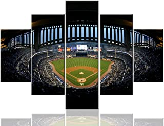 Extra Large Painting 5 Pcs/Multi Panel Canvas New York Yankee Stadium Pictures Major League Soccer (MLS) Wall Art Home Decor for Living Room Giclee Framed Ready to Hang Posters and Prints(60''Wx40''H)
