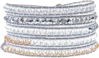 Globi Handmade Beaded Wrap Bracelet for Women   Boho 5-Wrap Adjustable Multilayer Genuine Leather Bracelet