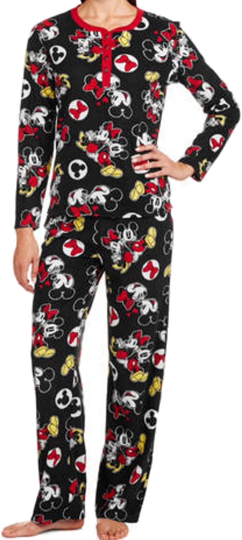 Disney Mickey & Minnie Mouse noir Waffle Fleece Pajama Sleep Set - grand