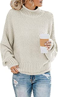 Glamaker Women's Warm Oversized Turtleneck Pullover Sweaters Batwing Long Sleeve Loose Chunky Knit Jumper
