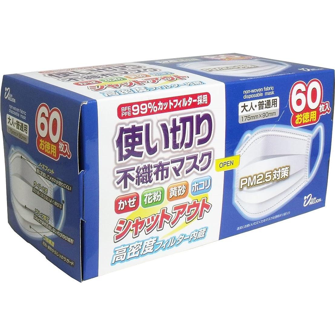 感覚ソーセージ豪華なサンフィット 使い切り不織布マスク 大人?普通用 60枚入