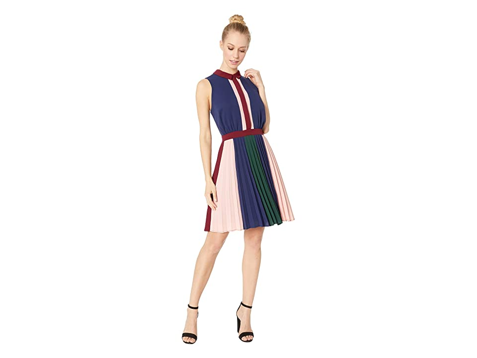 Adelyn Rae Nadya Woven Pleated Fit Flare Dress (Navy Multi) Women