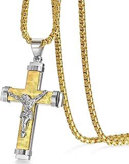 JewelryWe Gioielli Collana da Uomo Modello Croce Gesu' in Acciaio Inossidabile Colore Argento Nero Oro