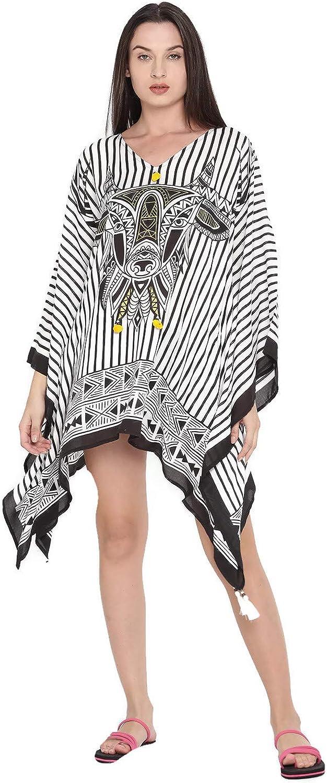 The Kaftan Company White and Black Modal Short Kimono Sleeves VNeck Striped Coverup Dress for Women