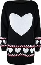 Oops Outlet Women's Aztec Love Heart Print Slash Neck Knitted Dress