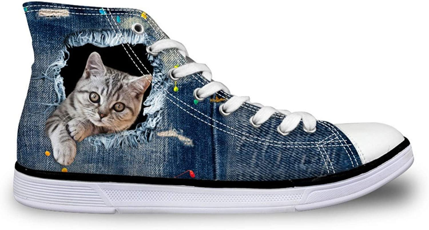 HANGGE& Women's Vulcanize shoes Cute Cat Denim Flat Casual High Top Canvas shoes