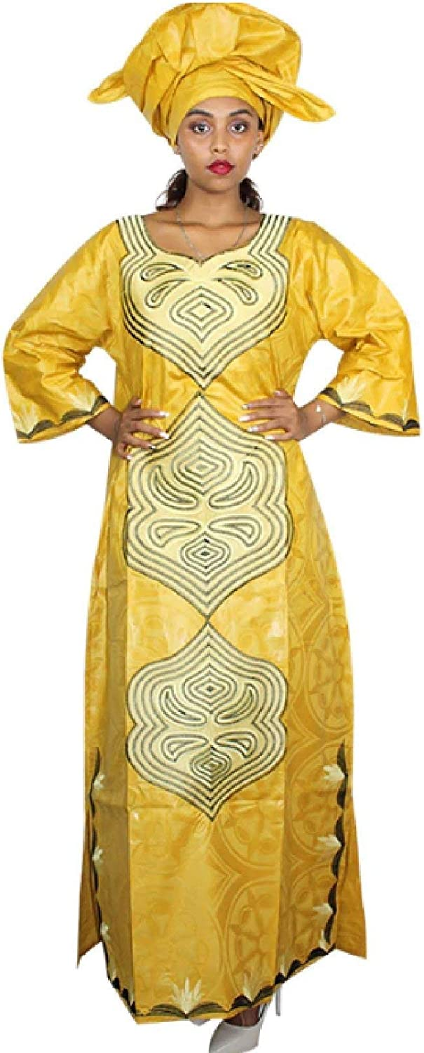 African Dresses Bazin Riche Embroidery Design Cloth with Scarf Two Pcs Per Set