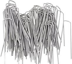 AAGUT 6inch OuYi Garden Staples Galvanized Landscape Sod Stakes, 100 Pack 6 Inch 11 Gauge Steel Lawn U Pins Pegs-Securing Ground Cover, 100x, Silver