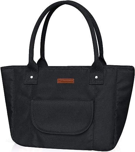 MAYMOONER Isolierte Lunch Bag Tote Bag für Damen Große Kapazität Kühltasche Thermische Lunchboxen für Arbeitspicknick im Freien Schwarz