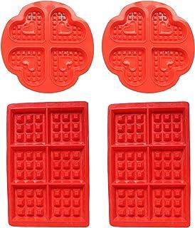 WENTS Molde de silicona para gofres, para hacer gofres, para tartas, cubitos de hielo, pan, 4 unidades