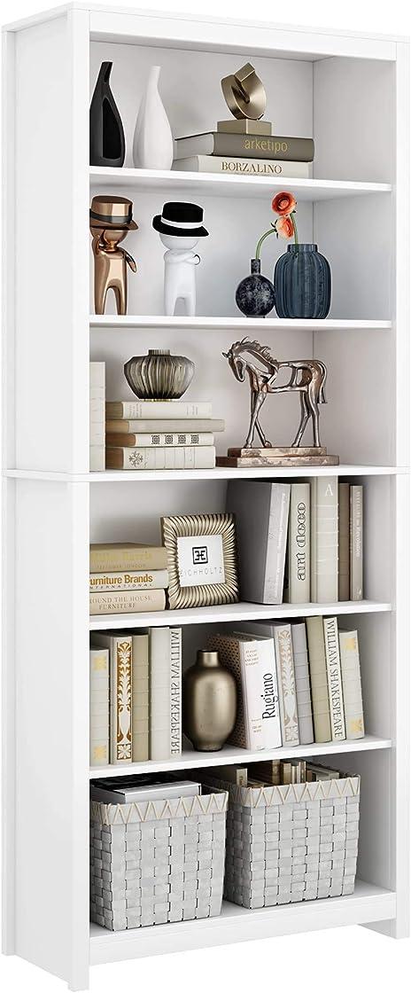 Libreria scaffale in legno, librerie per arredo studio libreria alta 80×33×190cm bianco homfa HMD-185