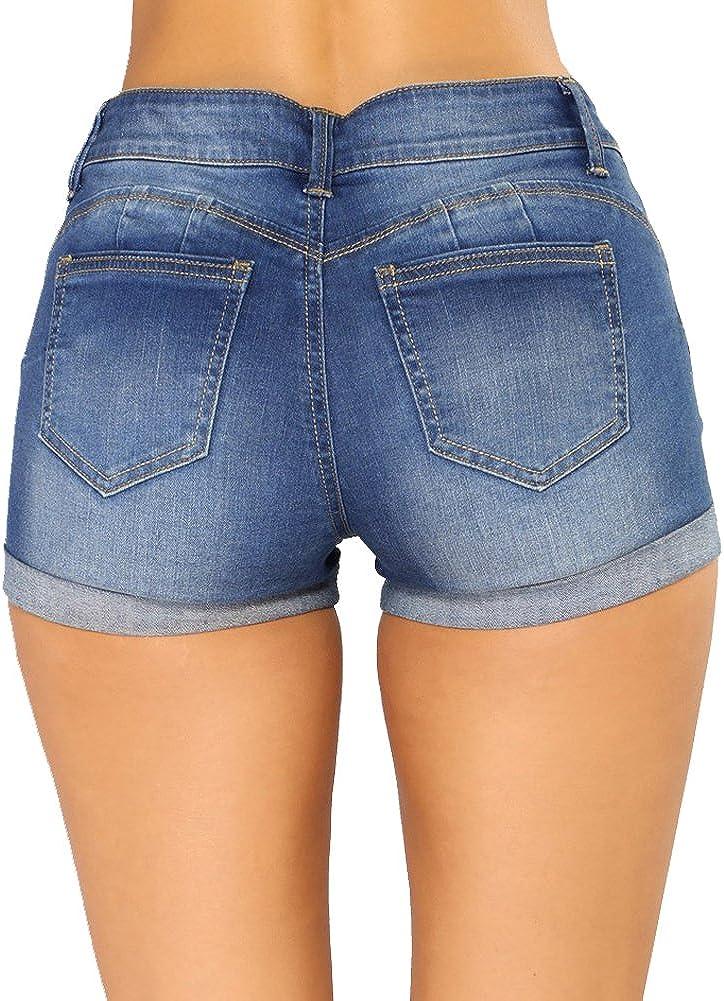 LIYT Women's Slim Fit Broken Hole Denim Shorts Mini Hot Pants Jeans Shorts