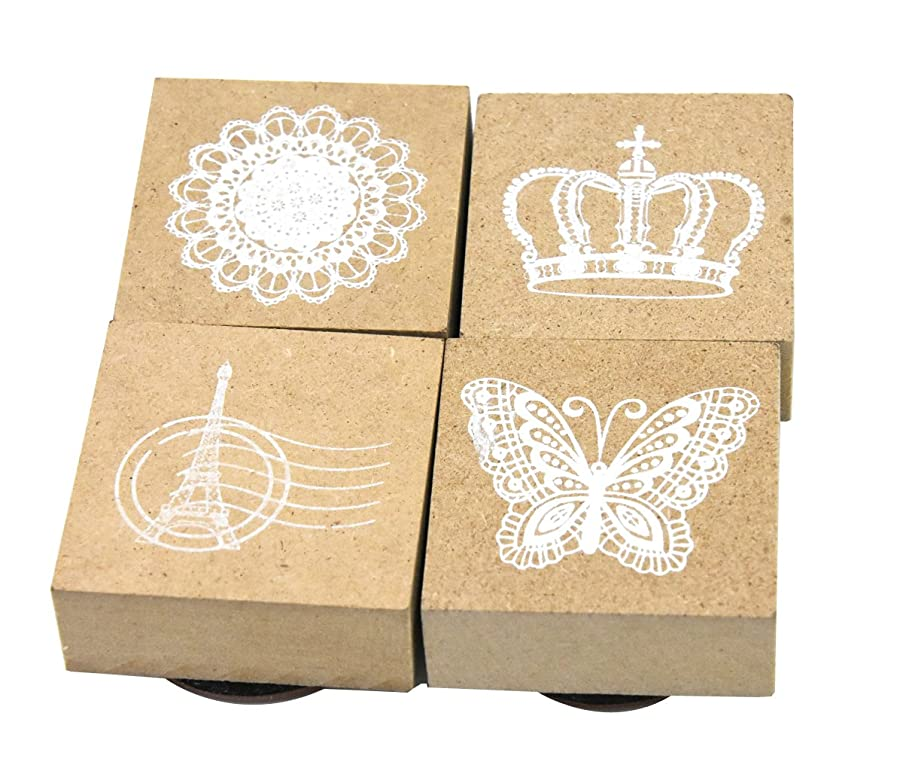 Youkwer 4 Pcs Classical Style Cute Wooden Rubber Stamps DIY Diary Scrapbook Stamps Set with Inkpad (Lace, Tower, Butterfly, Crown)