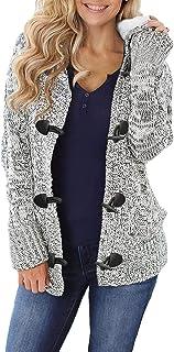 Dokotoo Strickjacke für Damen Grobstrick Kurz Strickcardigan Strickmantel mit Kapuzen Pullover Langarm Taschen Herbst Wint...