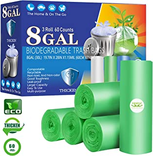Medium Trash Bags 8 Gallon Biodegradable Garbage Bags Thicker 1.15 MIL Compost Bags Medium Wastebasket Liners for Kitchen Office, Lawn,Bathroom,60 Count (Fits 7-10 Gallon Bins)