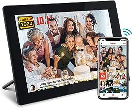 FRAMEO Smart WiFi Digitaler Bilderrahmen 10,1 Zoll 1920x1200 FHD,WLAN Fotorahmen mit LCD IPS Touchscreen, Wandmontage, Ges...