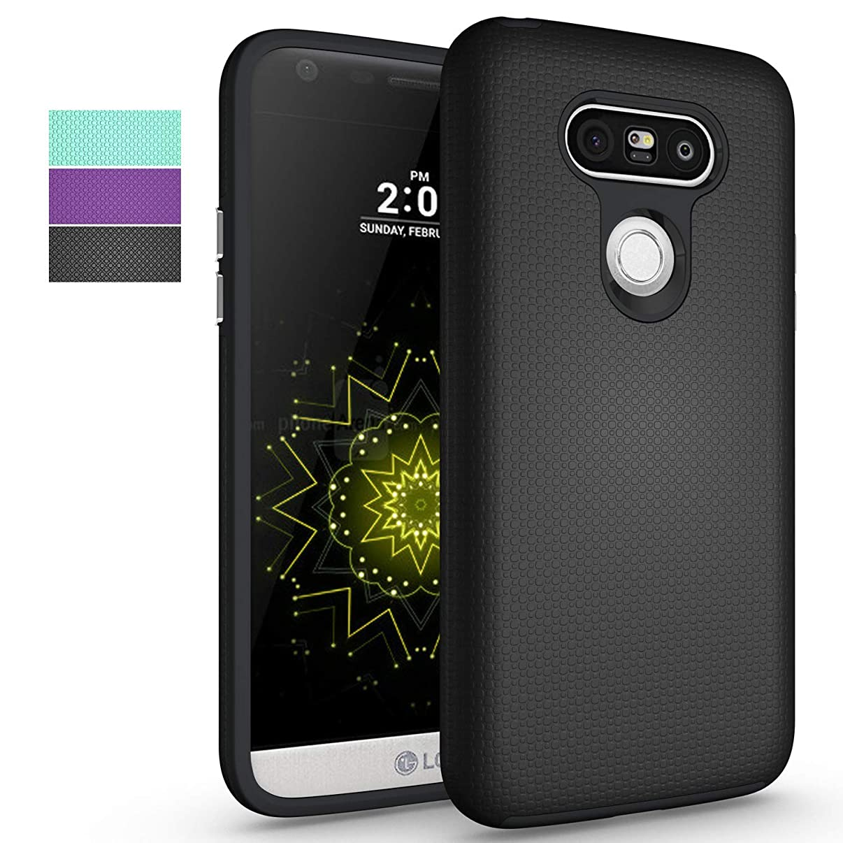 LG G5 Phone Case,NiuBox Slim Fit Dual Layer Armor [PC + TPU Hybrid] Anti-Slip Shock Absorption Protective Phone Case Cover for LG G5 (T-Mobile,Unlocked,Verizon) - Black