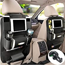Fincy Palmoo PU Leather Car Back seat Organizer and iPad Mini Holder, Back Seat Kick Protectors for Kids, Storage Bottles, Tissue Box, Toys - (2 Pack,Black)