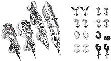 Jovivi Bundle - 2 Items Men's Jewelry Silvery Armour Knuckle Full Finger Double Loop Activity Ring + 8 Pairs Mixed Style Punk Skull/Plugs Taper/Cross Huggie Hoop Stainless Steel Screw Stud Earrings