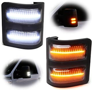 iJDMTOY Smoked Lens Switchback LED Side Mirror Marker Lamps For 2008-16 Ford F250 F350 F450 Super Duty, (2) Smoked Lens, White LED Parking Light, Amber LED Turn Signal Light