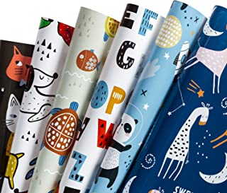 WRAPAHOLIC Gift Wrapping Paper Sheet - Cute Animal Design for Birthday, Holiday, Party, Baby Shower - 1 Roll Contains 6 Sheets - 17.5 inch X 30 inch Per Sheet