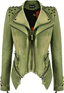 Best green leather jacket womens Reviews