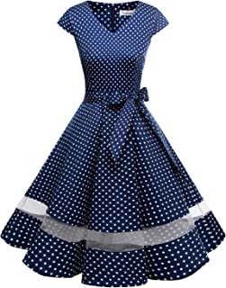 Gardenwed Women's 1950s Rockabilly Cocktail Party Dress Retro Vintage Swing Dress Cap-Sleeve V Neck